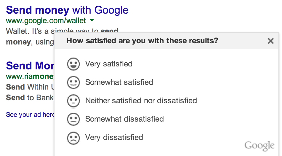 Google Search Result Satisfaction Poll